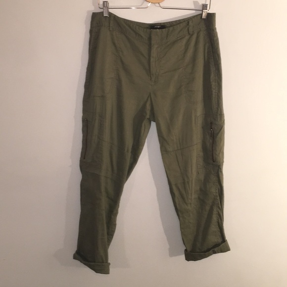 Olive linen cargo style pants